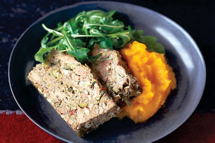 Green olive and mixed herb meatloaf on pumpkin puree 1