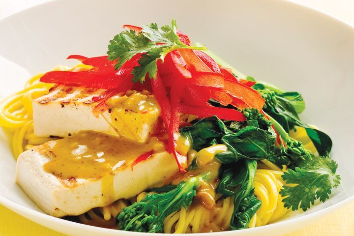 Grilled tofu with peanut sauce and Asian greens 1