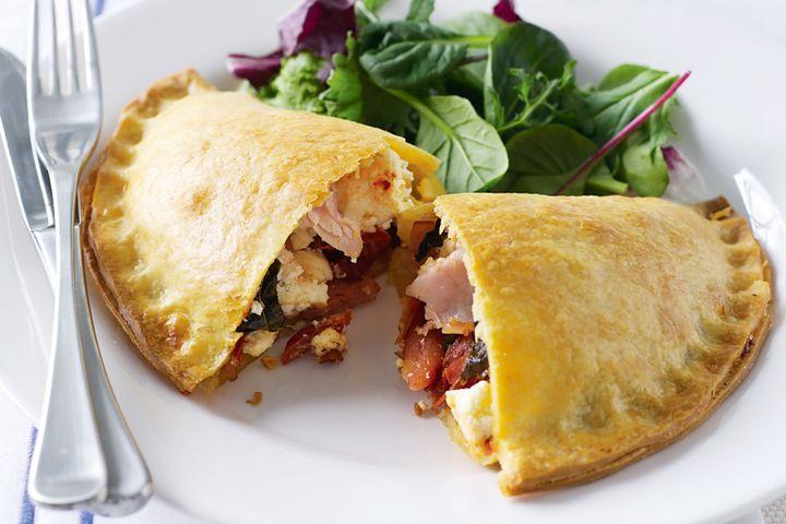 Ham, tomato and ricotta calzones 1