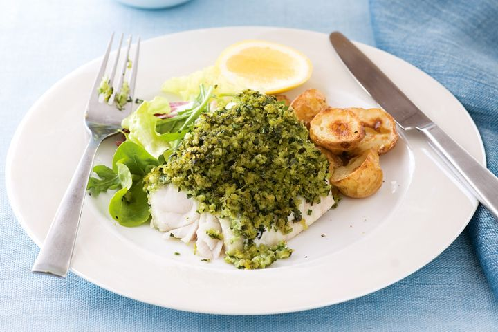 Herb-crusted fish with roasted potatoes 1