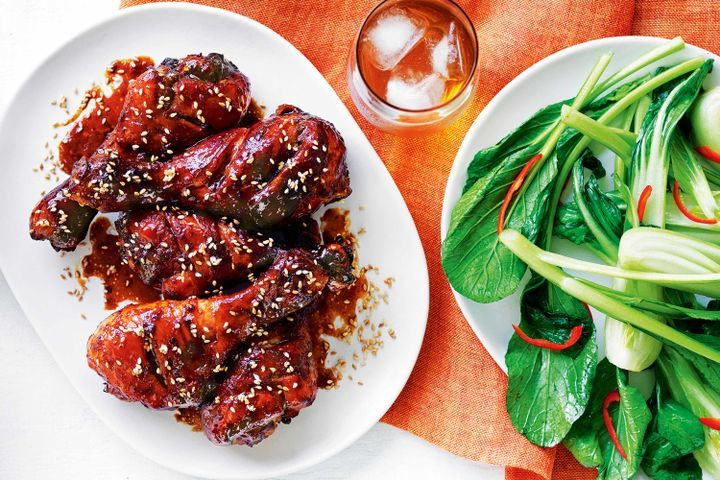 Honey ginger chicken drumsticks with chilli Asian greens 1