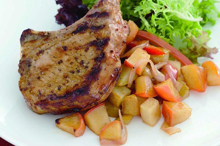 Honey-mustard pork with warm apple and pear salsa 1