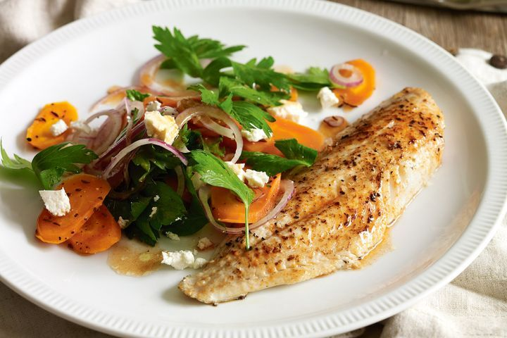 Honey-roast carrot salad with paprika-spiced fish 1