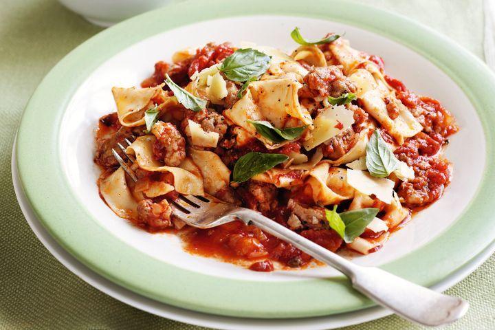 Italian sausage ragu with rag pasta 1