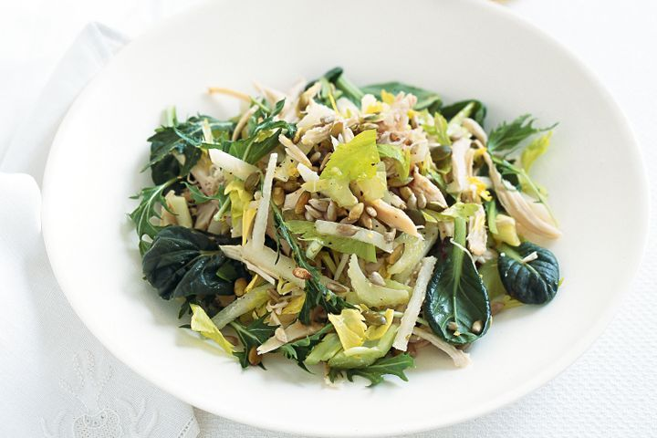 Jicama, chicken and celery salad with toasted seeds 1