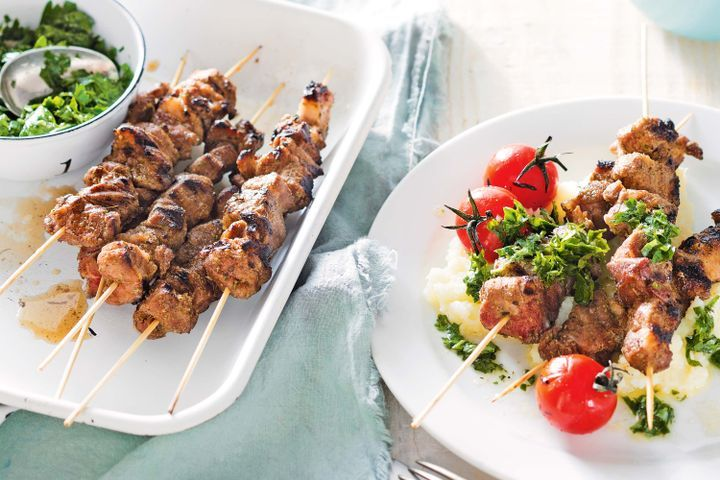 Lamb kebabs with cauliflower mash and parsley sauce 1
