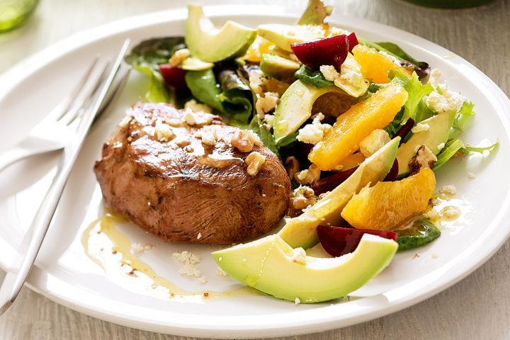 Lamb steaks with orange, beetroot and avocado salad 1