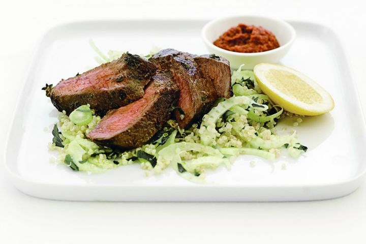 Lemon thyme lamb with fennel and parsley quinoa 1