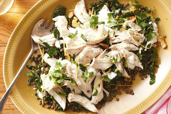 Lentil and poached chicken salad with gremolata 1