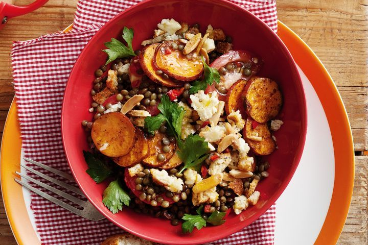 Lentil and sweet potato salad with feta croutons 1