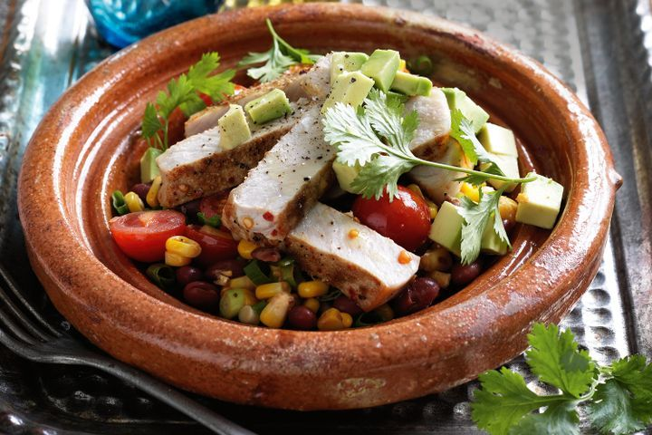 Mexican corn & bean salad with grilled pork 1