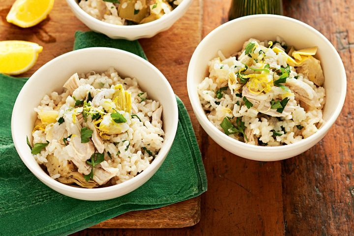 Microwave lemon chicken and parsley risotto 1
