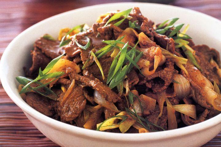 Mongolian-style lamb stir-fry 1