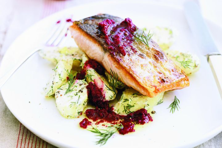 Ocean trout with dill potatoes and beetroot pesto 1