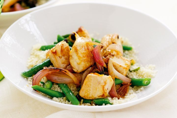 Orange chicken with green bean and mint couscous 1