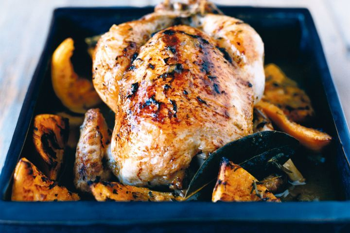 Organic roast chicken with oranges and winter herbs 1