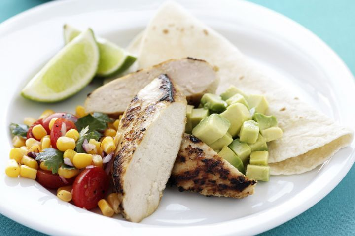Pan-fried chicken with corn salsa 1