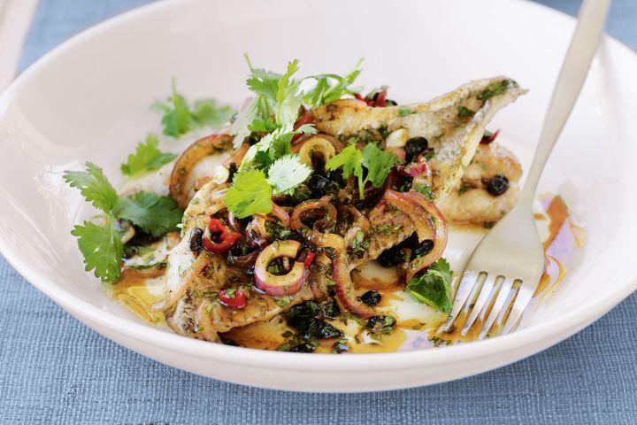 Pan-fried fish with black-bean dressing 1