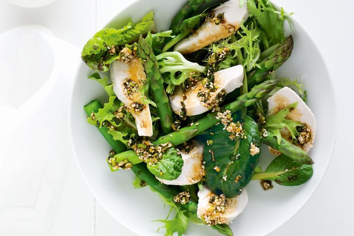 Poached chicken with asparagus & sesame 1