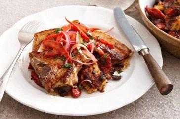 Pork chops with chorizo migas and red onion salsa 1