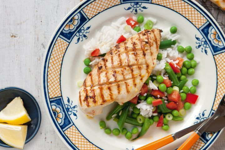 Portuguese-style chicken with rice & green bean salad 1