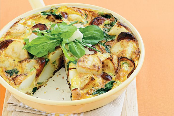 Potato, ham, chorizo & spinach frittata 1