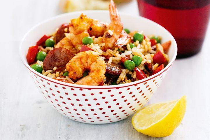Prawn and chorizo Spanish rice 1