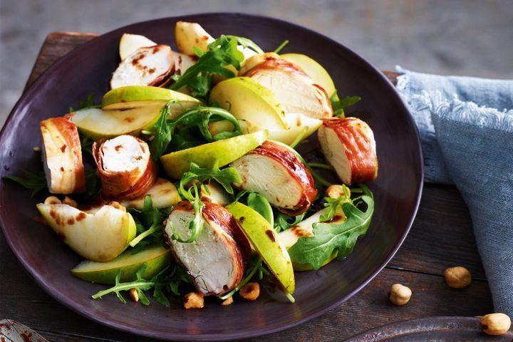 Prosciutto chicken with pear & hazelnut salad 1