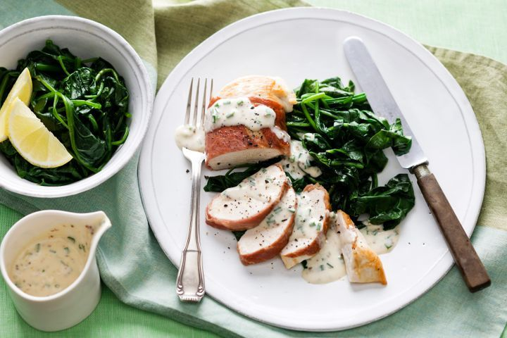 Prosciutto wrapped chicken breasts with garlic chive cream sauce 1