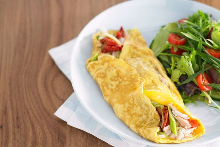 Quick chicken and tomato omelette 1
