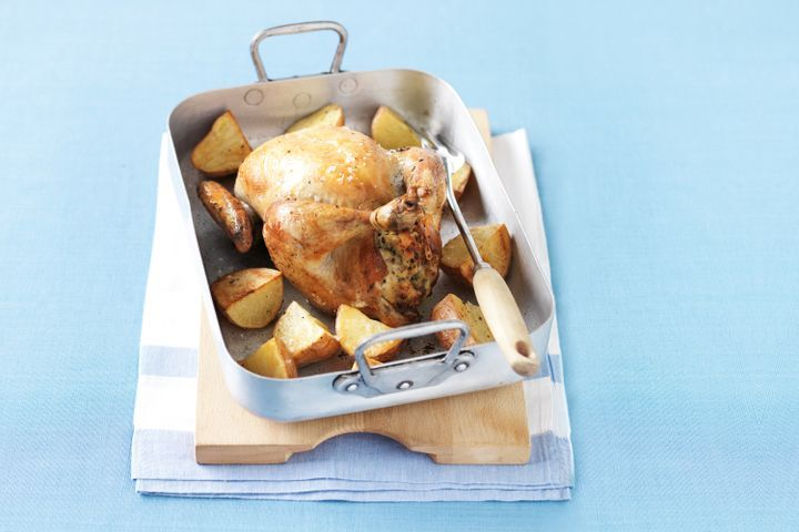 Roast chicken with bacon and herb stuffing 1