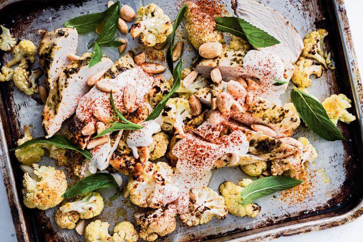 Roast chicken with cauliflower and tahini 1
