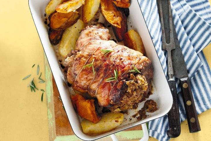 Roast lamb with pistachio and date stuffing 1