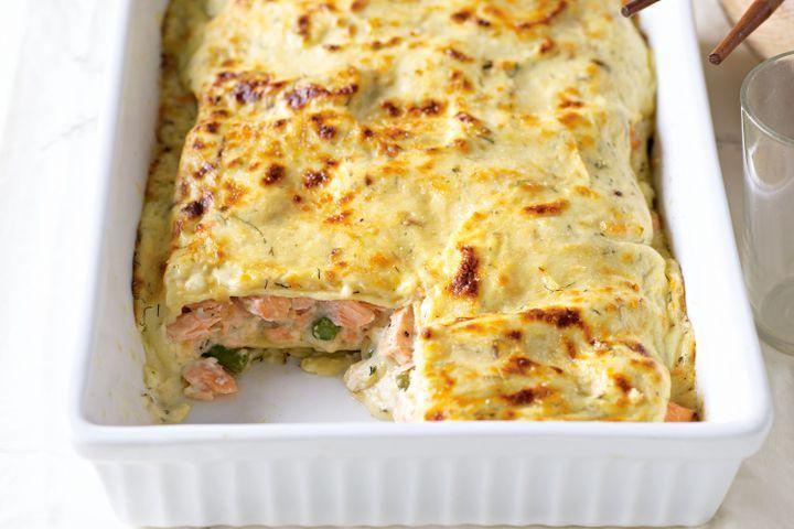 Salmon, leek and asparagus lasagne 1