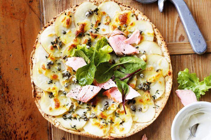 Salmon, potato & caper pizzas 1