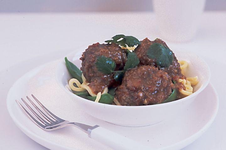 Satay meatballs on hokkien noodles 1
