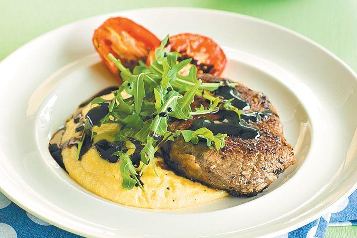 Scotch steak with polenta and balsamic glaze 1