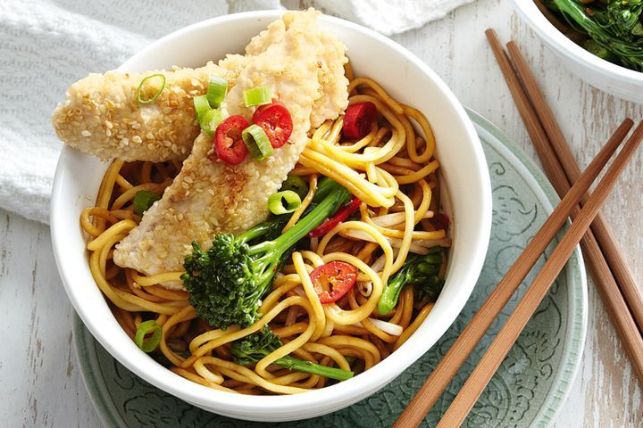 Sesame chicken with noodles 1