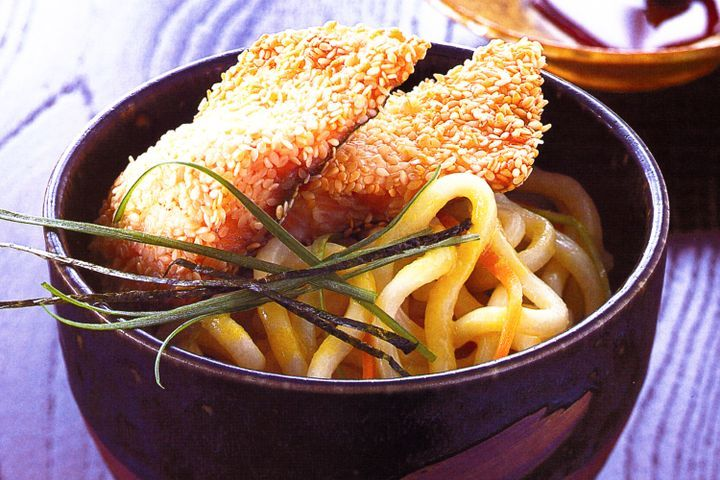 Sesame-crumbed rainbow trout on wasabi noodles 1