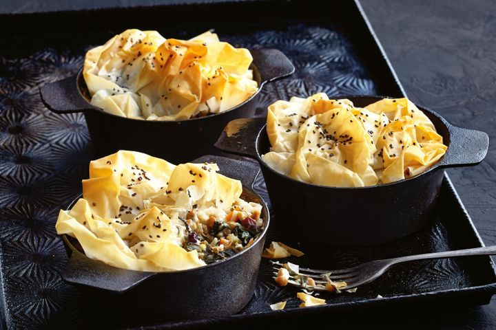 Silverbeet pies with filo chia topping 1