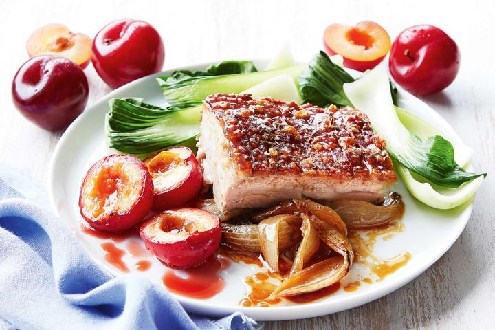 Slow-roasted pork belly with roasted plums 1