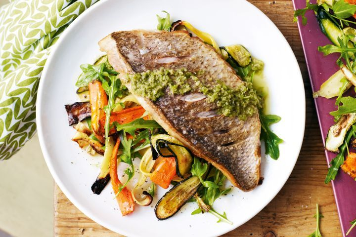 Snapper with olive dressing & roasted zucchini salad 1