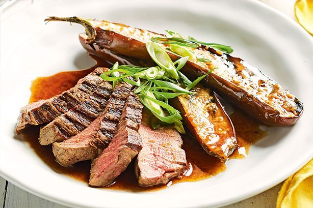 Soy-soaked beef fillet with miso eggplant 1