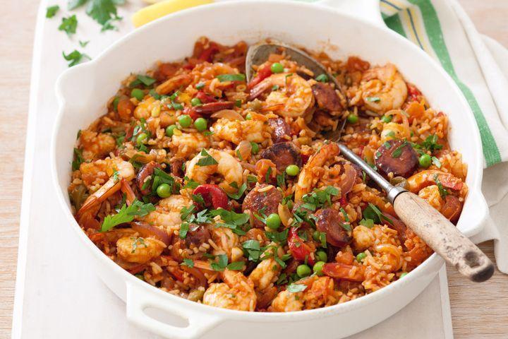 Spanish prawn and chorizo rice 1