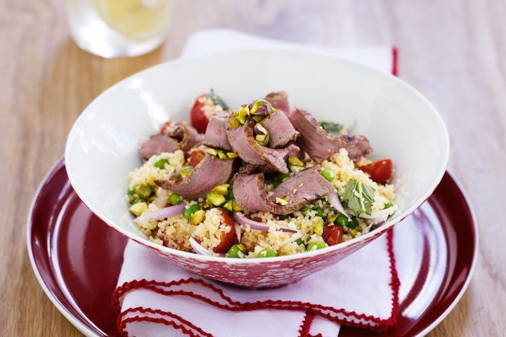 Spiced beef with tomato & pistachio couscous 1