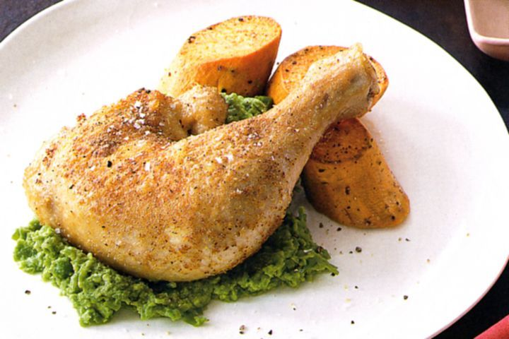 Spiced chicken with garlic pea puree 1