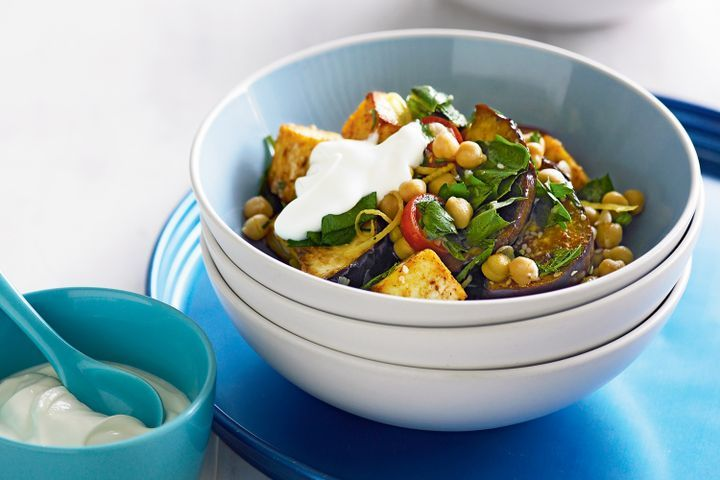 Spiced eggplant & chickpea salad with yoghurt 1