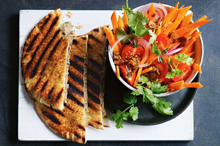 Spicy barbecued lamb pockets with carrot salad
