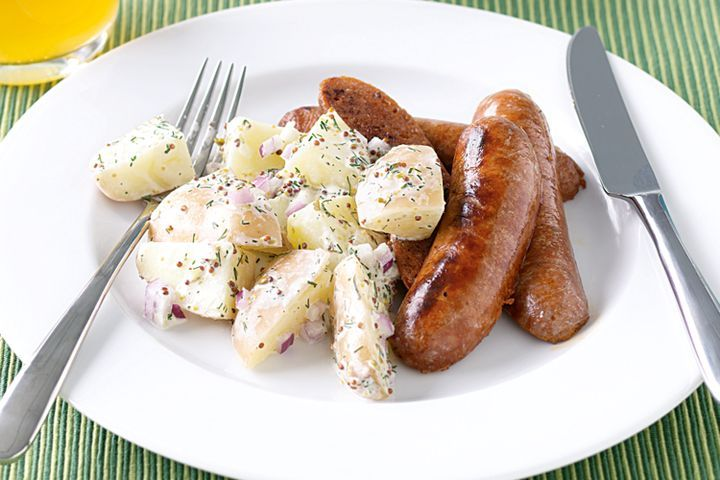 Spicy sausages with warm potato salad 1