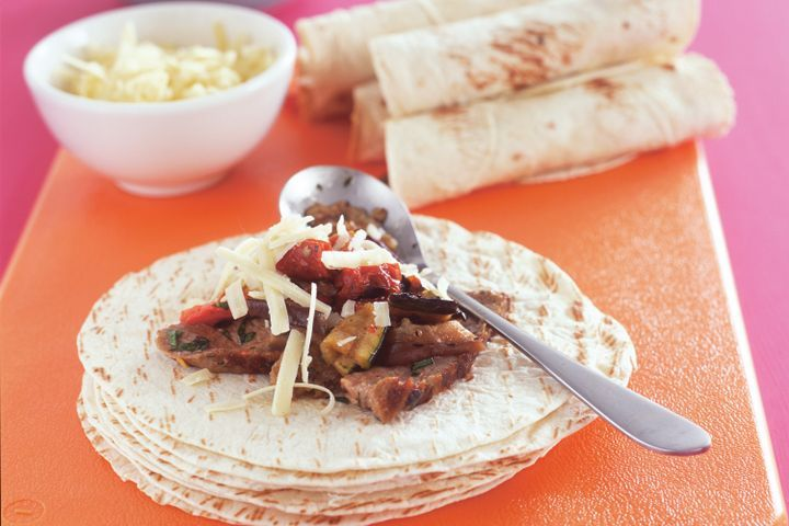 Steak and char-grilled vegetable fajitas 1